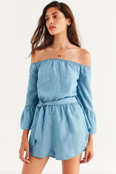 Kimchi Blue Chambray Off-The-Shoulder Romper - Light Blue XS at Urban Outfitters