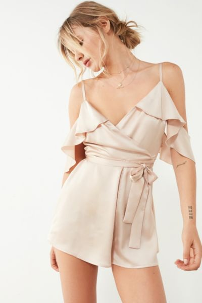 Kimchi Blue Sateen Ruffle Wrap Romper - Rose 2 at Urban Outfitters