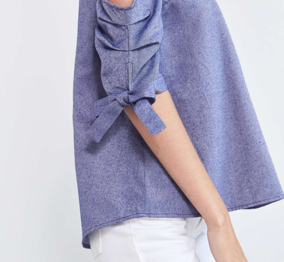 Slide View: 2: Silence + Noise Chambray Cold-Shoulder Tie Top