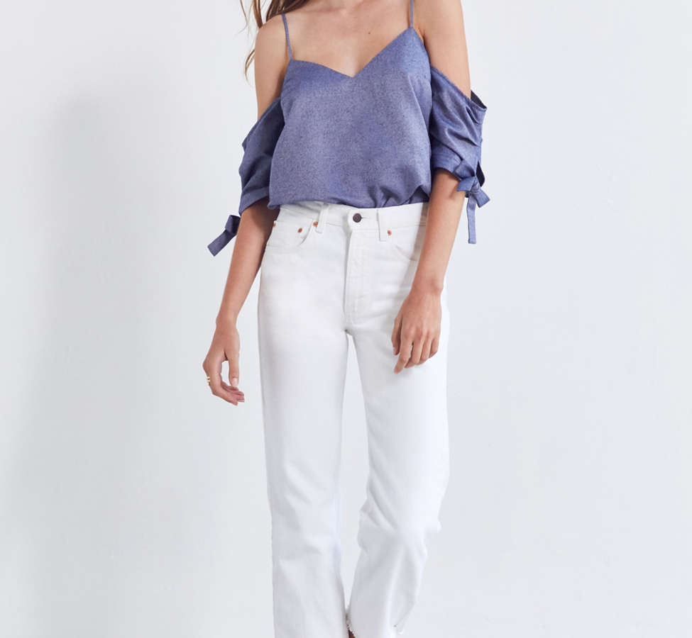 Slide View: 3: Silence + Noise Chambray Cold-Shoulder Tie Top