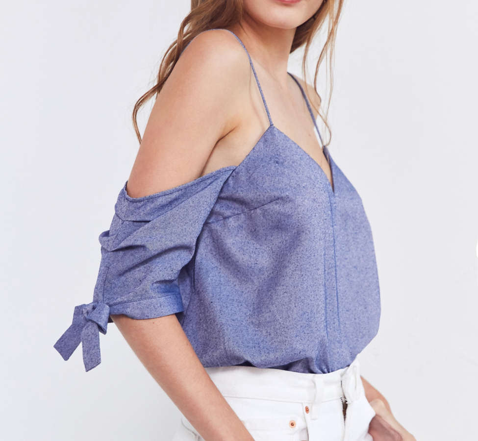 Slide View: 4: Silence + Noise Chambray Cold-Shoulder Tie Top