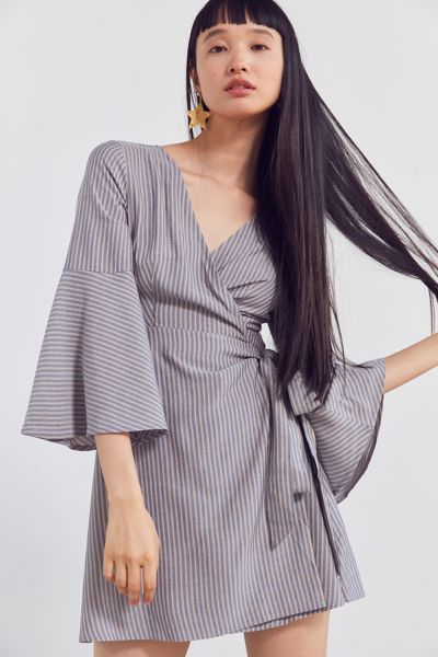 Ecote Striped Bell-Sleeve Wrap Dress - Blue Multi S at Urban Outfitters