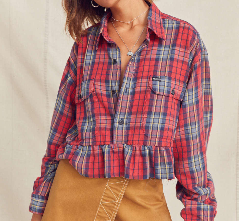 Slide View: 1: Urban Renewal Recycled Button-Down Peplum Flannel Shirt