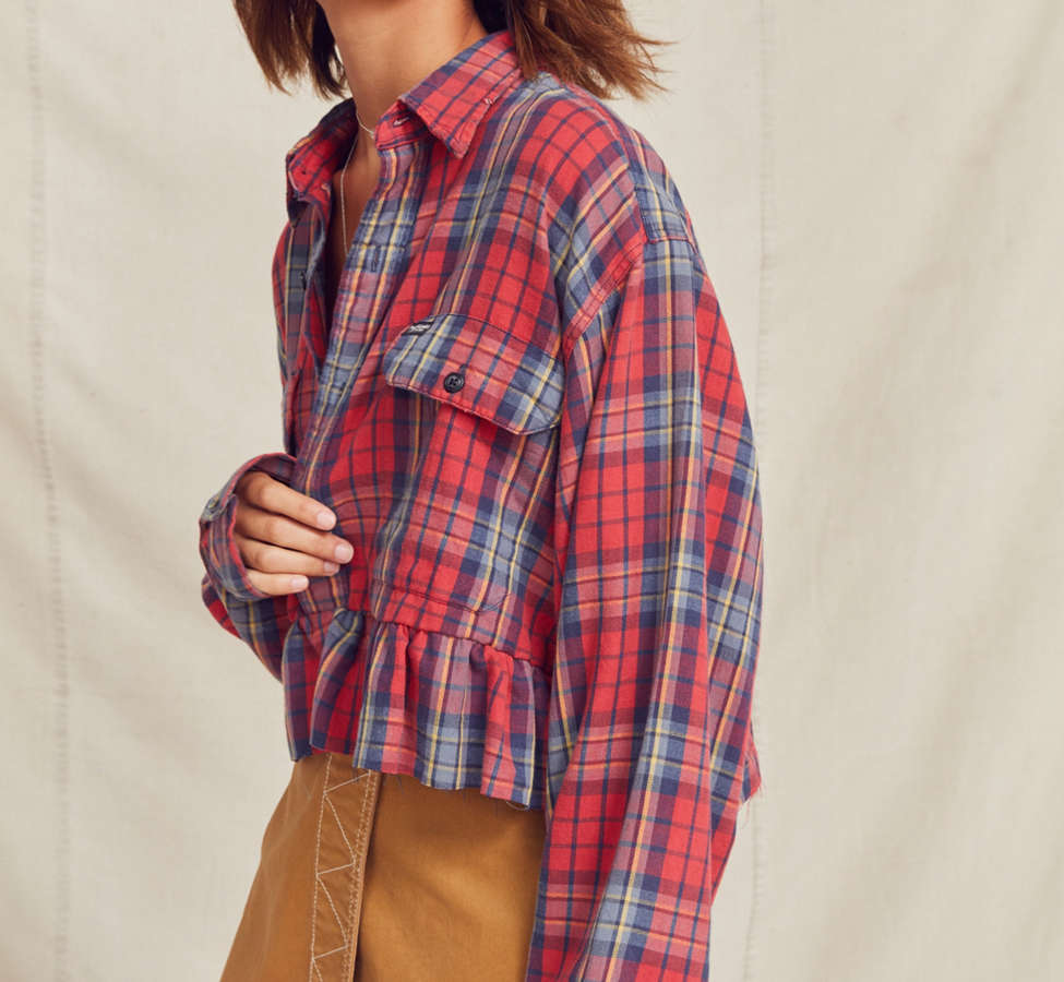 Slide View: 3: Urban Renewal Recycled Button-Down Peplum Flannel Shirt