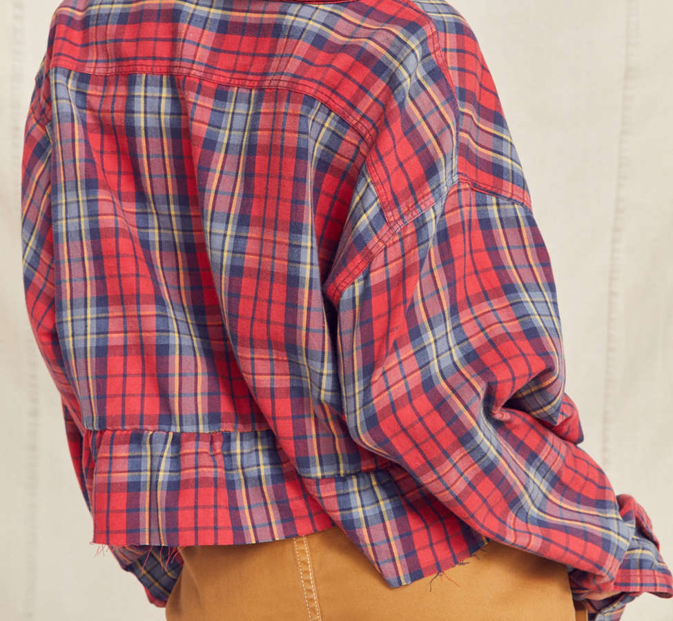 Slide View: 6: Urban Renewal Recycled Button-Down Peplum Flannel Shirt