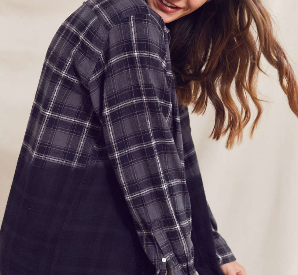 Slide View: 1: Urban Renewal Recycled Dip Dye Flannel Shirt