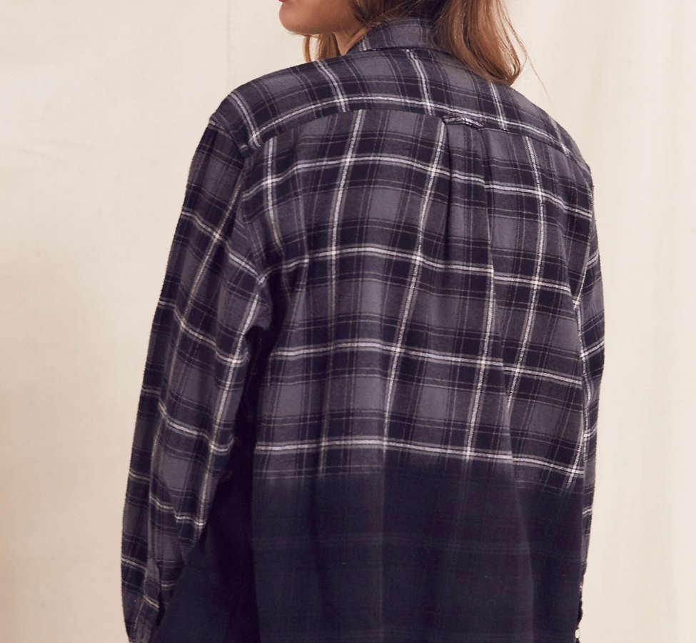 Slide View: 4: Urban Renewal Recycled Dip Dye Flannel Shirt