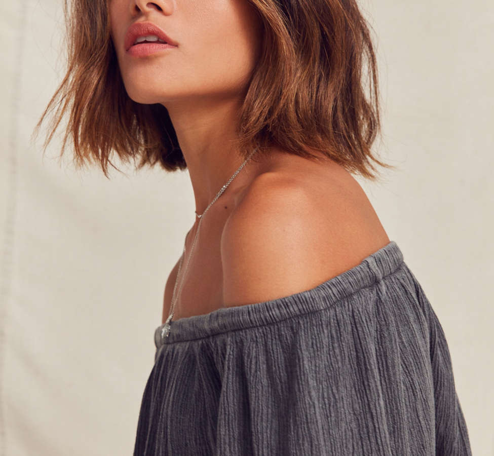 Slide View: 5: Urban Renewal Remade Gauzy Off-The-Shoulder Top