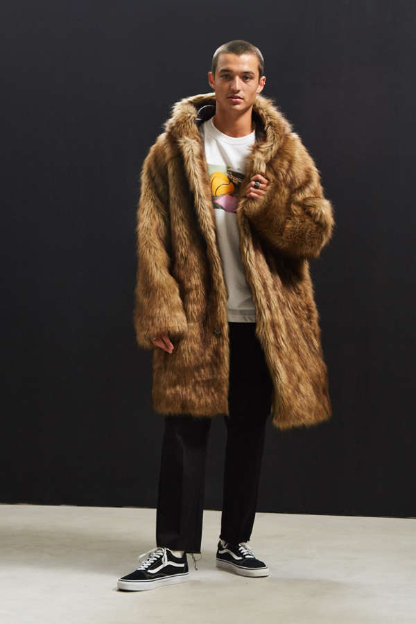 UO Hooded Long Faux Fur Coat | Urban Outfitters
