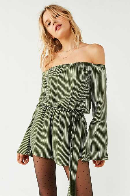 Silence + Noise Off-The-Shoulder Striped Bell-Sleeve Romper
