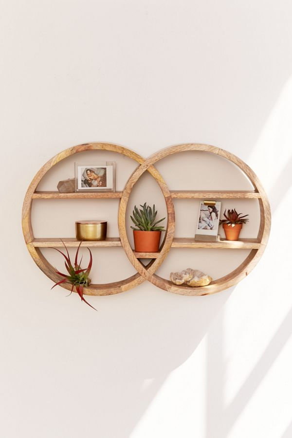 Slide View: 1: Dahlila Double Round Wall Shelf