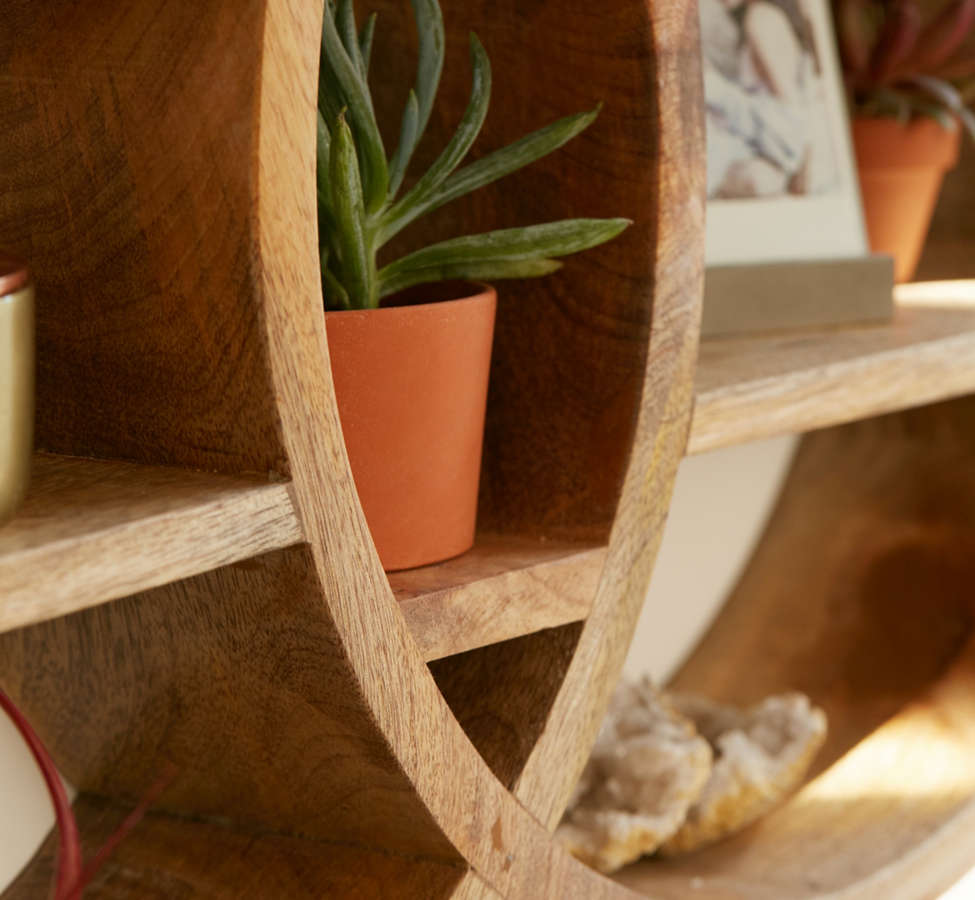Slide View: 3: Dahlila Double Round Wall Shelf