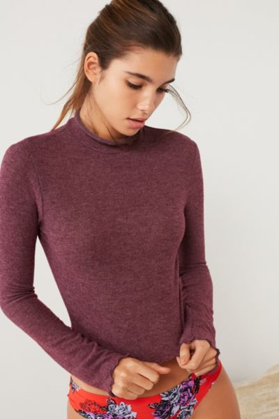 Out From Under Lettuce-Edge Cozy Mock Neck Top
