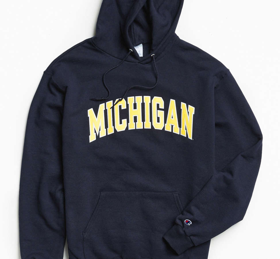 Slide View: 1: Champion University Of Michigan Eco Fleece Hoodie Sweatshirt