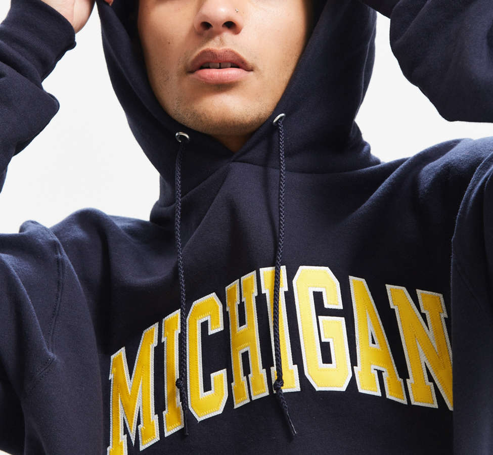 Slide View: 2: Champion University Of Michigan Eco Fleece Hoodie Sweatshirt