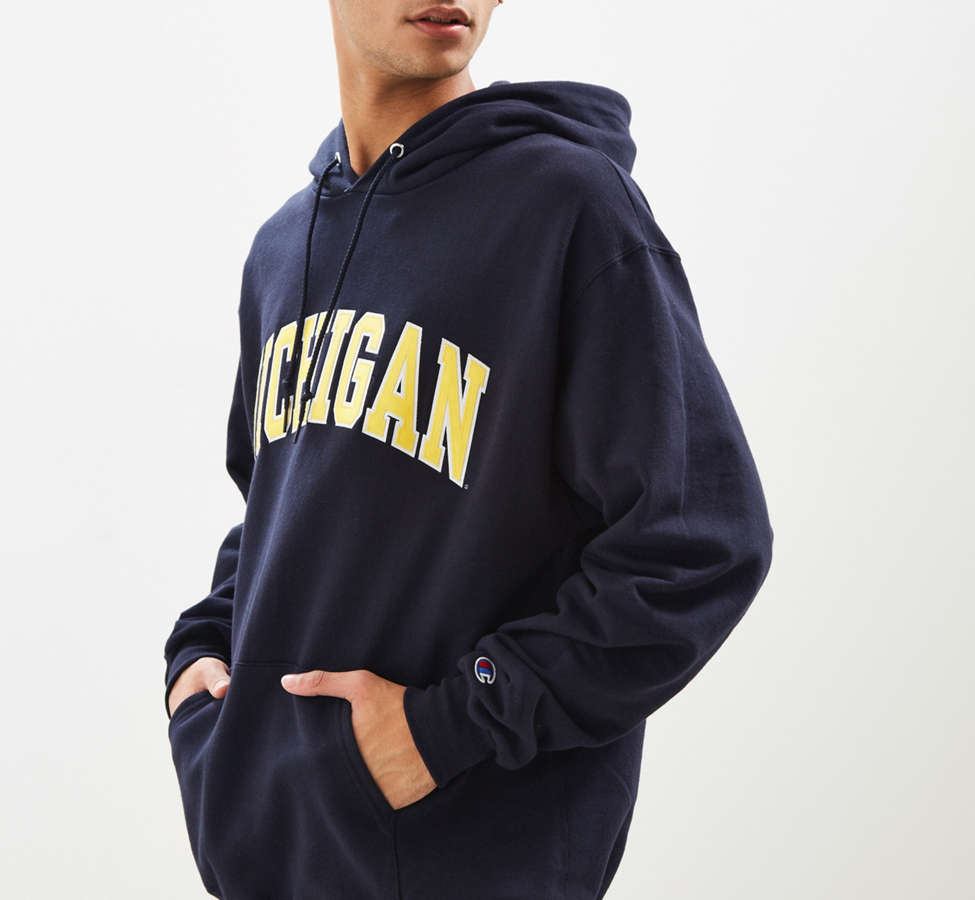 Slide View: 4: Champion University Of Michigan Eco Fleece Hoodie Sweatshirt