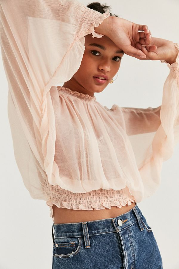 kimchi blue sheer smocked mock neck top urban outfitters