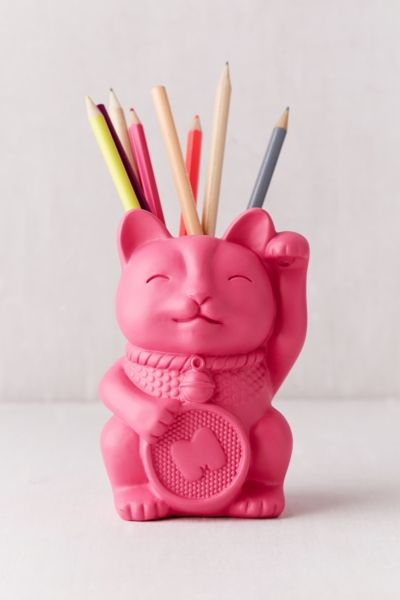 Lucky Cat Pencil Cup - Pink One Size at Urban Outfitters