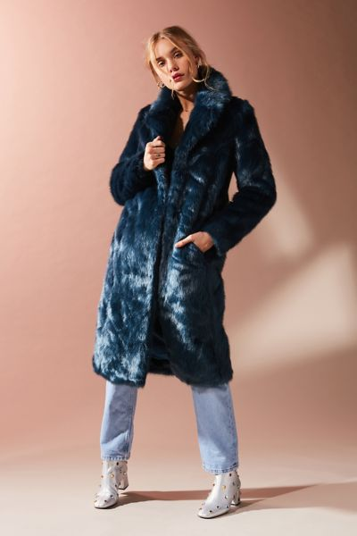 Jakke Kristie Faux Fur Duster Jacket - Turquoise XS at Urban Outfitters