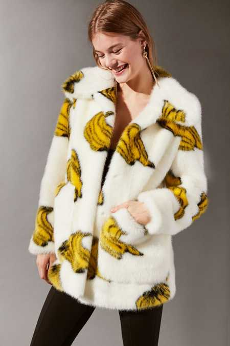 Jakke Tammy Bananas Faux Fur Coat