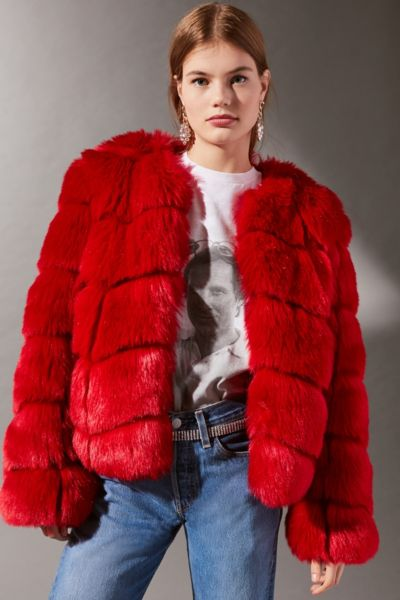 Jakke Dawn Collarless Faux Fur Coat - Red XS at Urban Outfitters