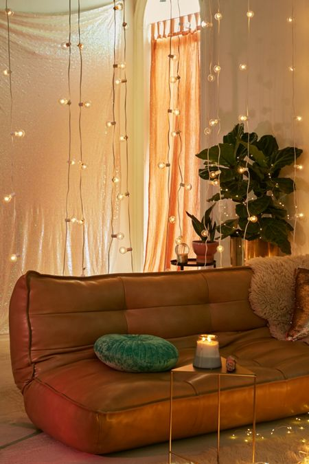 Long Fairy Lights Bedroom