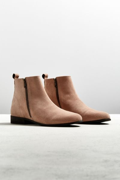 UO Double-Zip Suede Chelsea Boot - Pink 7 at Urban Outfitters