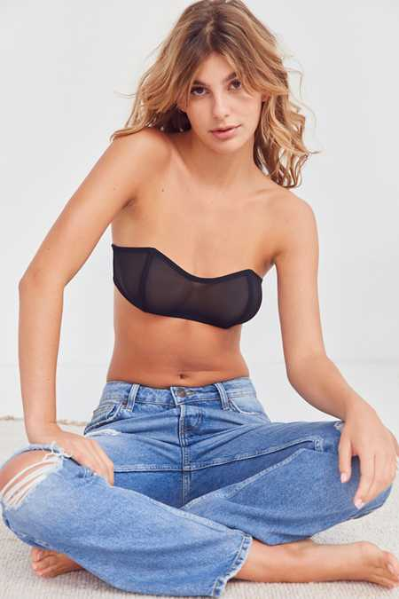 Out From Under Mesh Sweetheart Bandeau Bra Top