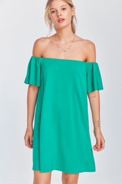 Kimchi Blue Off-The-Shoulder Knit Mini Dress - Green XS at Urban Outfitters