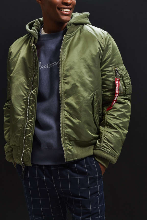Alpha Industries Hooded MA-1 Bomber Jacket | Urban Outfitters Canada