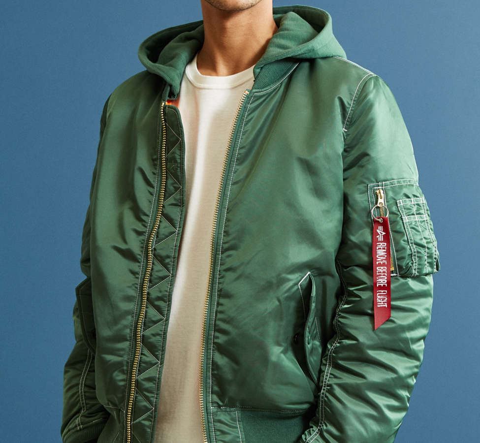 Slide View: 1: Blouson aviateur à capuchon MA-1 Alpha Industries