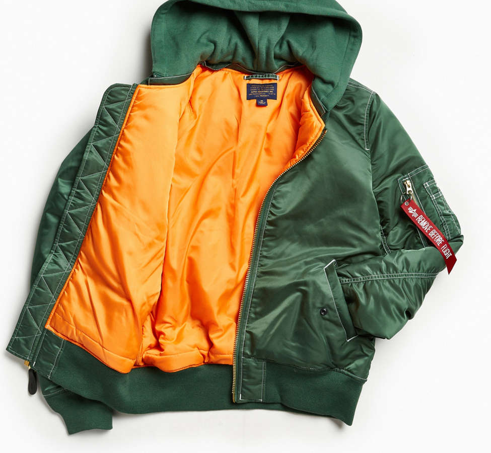 Slide View: 2: Blouson aviateur à capuchon MA-1 Alpha Industries
