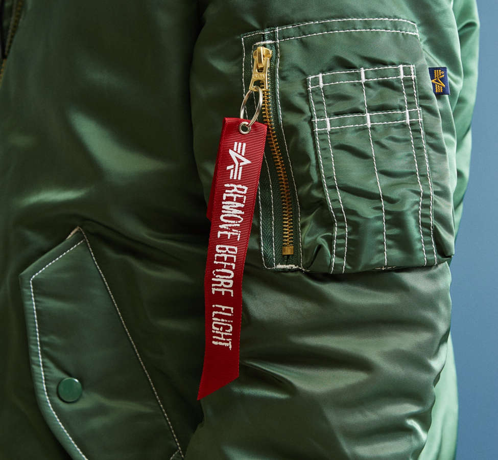 Slide View: 5: Blouson aviateur à capuchon MA-1 Alpha Industries