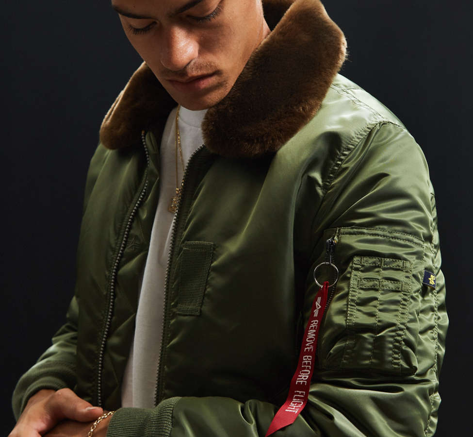 Slide View: 1: Alpha Industries B-15 Slim-Fit Bomber Jacket