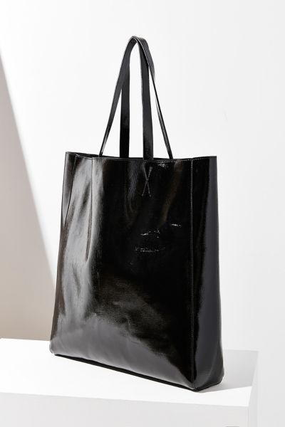 Patent Faux Leather Tote Bag - Black One Size at Urban Outfitters