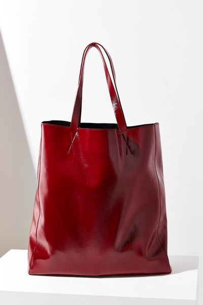 Patent Faux Leather Tote Bag - Red One Size at Urban Outfitters
