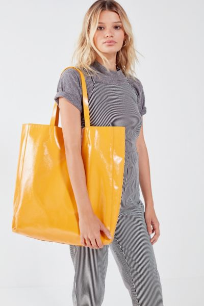 Patent Faux Leather Tote Bag - Yellow One Size at Urban Outfitters
