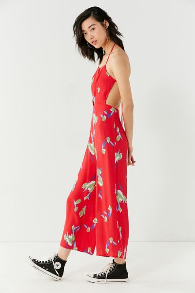 Kimchi Blue Floral Backless Apron Jumpsuit - Red 2 at Urban Outfitters