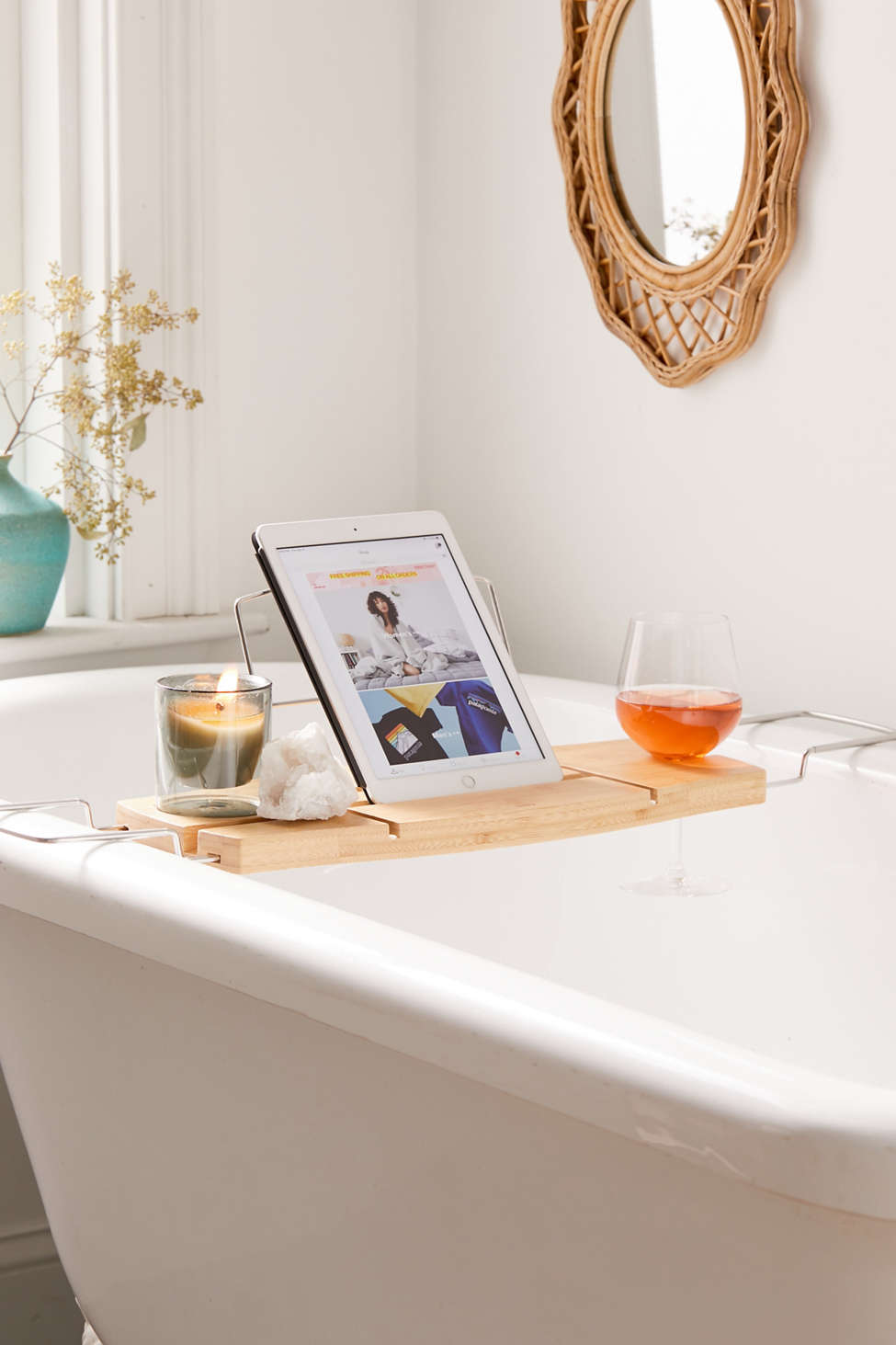 Slide View: 1: Me Time Bamboo Bath Tray Caddy