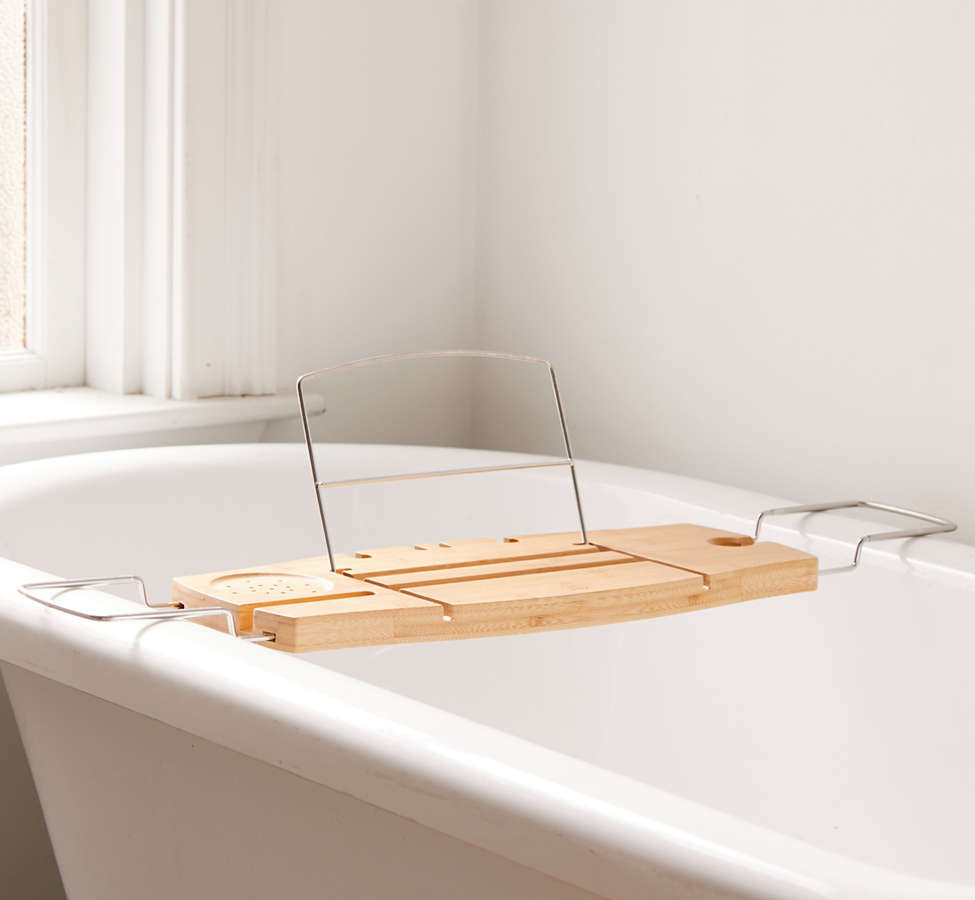 Slide View: 5: Me Time Bamboo Bath Tray Caddy