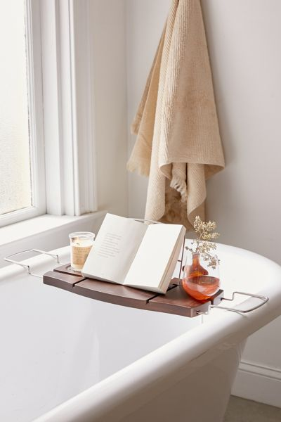 Me Time Bamboo Bath Tray Caddy Urban Outfitters