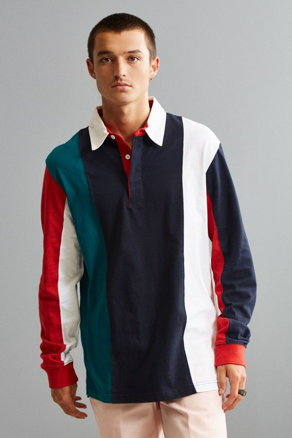 Slide View 1 Uo Archie Vertical Striped Rugby Shirt