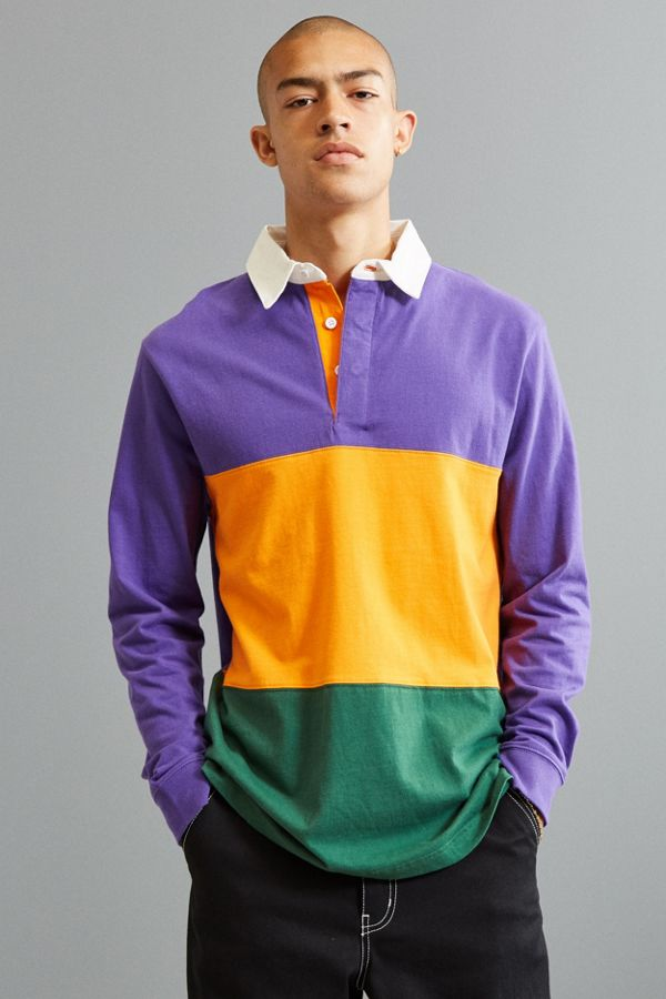 Slide View 1 Uo Archie Horizontal Striped Rugby Shirt