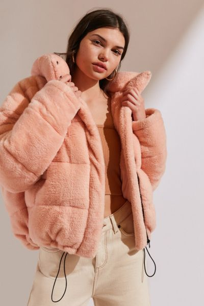 Light Before Dark Teddy Puffer Jacket - Pink XS at Urban Outfitters