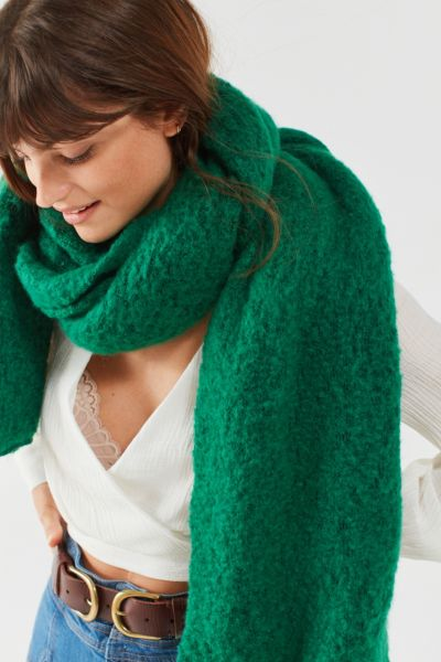 Nubby Cozy Blanket Scarf - Bright Green One Size at Urban Outfitters