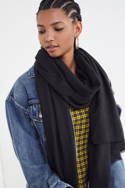 Brushed Woven Blanket Scarf - Black One Size at Urban Outfitters
