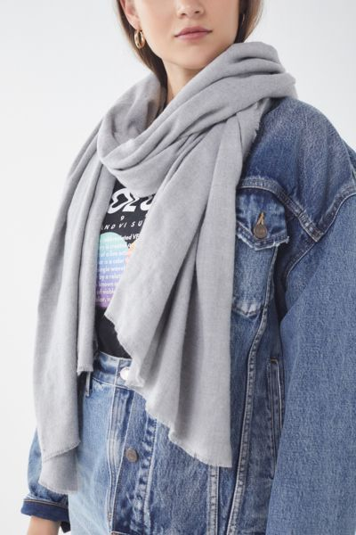 Brushed Woven Blanket Scarf - Grey One Size at Urban Outfitters