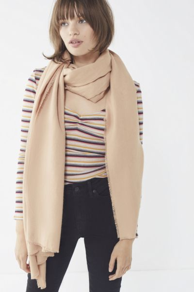 Brushed Woven Blanket Scarf - Tan One Size at Urban Outfitters