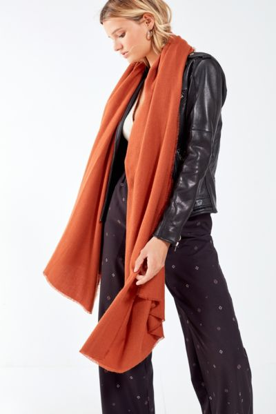 Brushed Woven Blanket Scarf - Brown One Size at Urban Outfitters