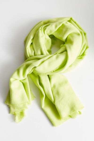 Brushed Woven Blanket Scarf - Lime One Size at Urban Outfitters